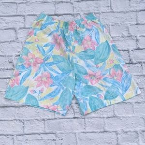 Vintage Booth Bay Pastel Tropical Floral Shorts M